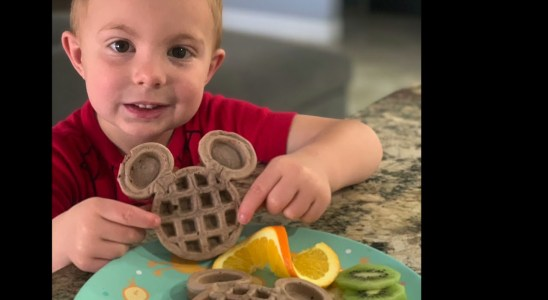 Start the day with a smile! Healthy Mickey Mouse waffles enjoyed by the family!