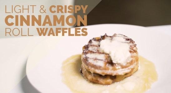 Homemade Light & Crispy Cinnamon Roll Waffles Recipe
