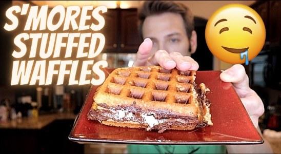 S'mores Stuffed Waffle Recipe | GoStoner Kitchen