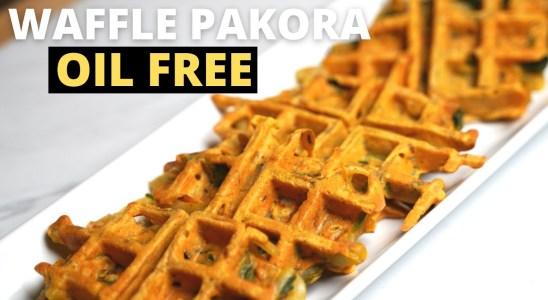 Vegan Oil Free Waffle Pakora Recipe |Onion & Spinach | Ramadan Special #Ramadan