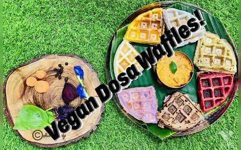 Vegan dosa waffles! #dosawaffles #vegandosawaffles #veggiewaffles #easykidsrecipes #veganwaffles