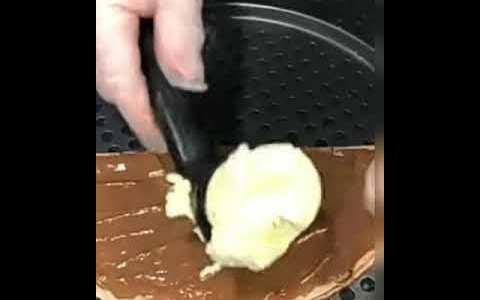 chocolate waffle with white ice cream | street food | #short.