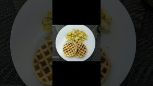HOW TO MAKE WAFFLES AT HOME EASY RECIPE    CHOCOLATE WAFFLES RECIPE TASTY   SCRAMBLE EGGS WITH MILK