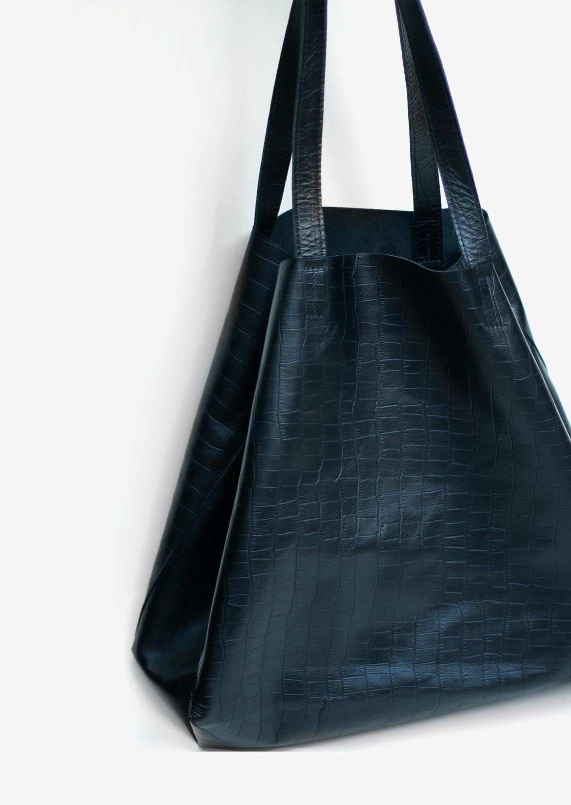 Wagapé cabas XL cuir noir croco