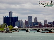 Belle Isle bridge and Detroit.