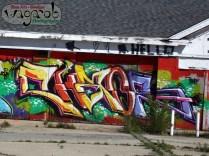 Street art (graffiti). CHAOS.