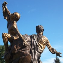 Statue with Black Hawk and Abe Lincoln