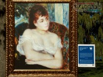 Woman in Armchair, 1874 - Pierre-Auguste Renoir. DIA's Inside|Out exhibit - Belle Isle, MI. Copyright Robert Hartwig.