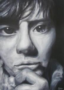 monochrome self-portrait