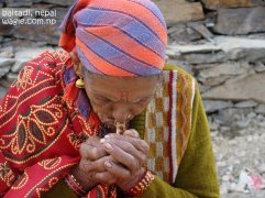 smoking woman of far west nepal