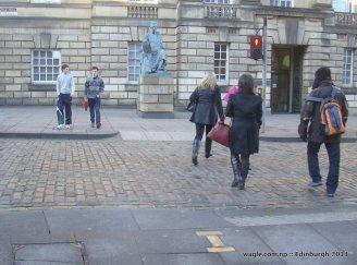 Notice the three brass plates...site of the last public execution in Edinburgh