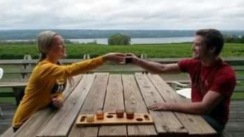 Beer flight on the brew deck