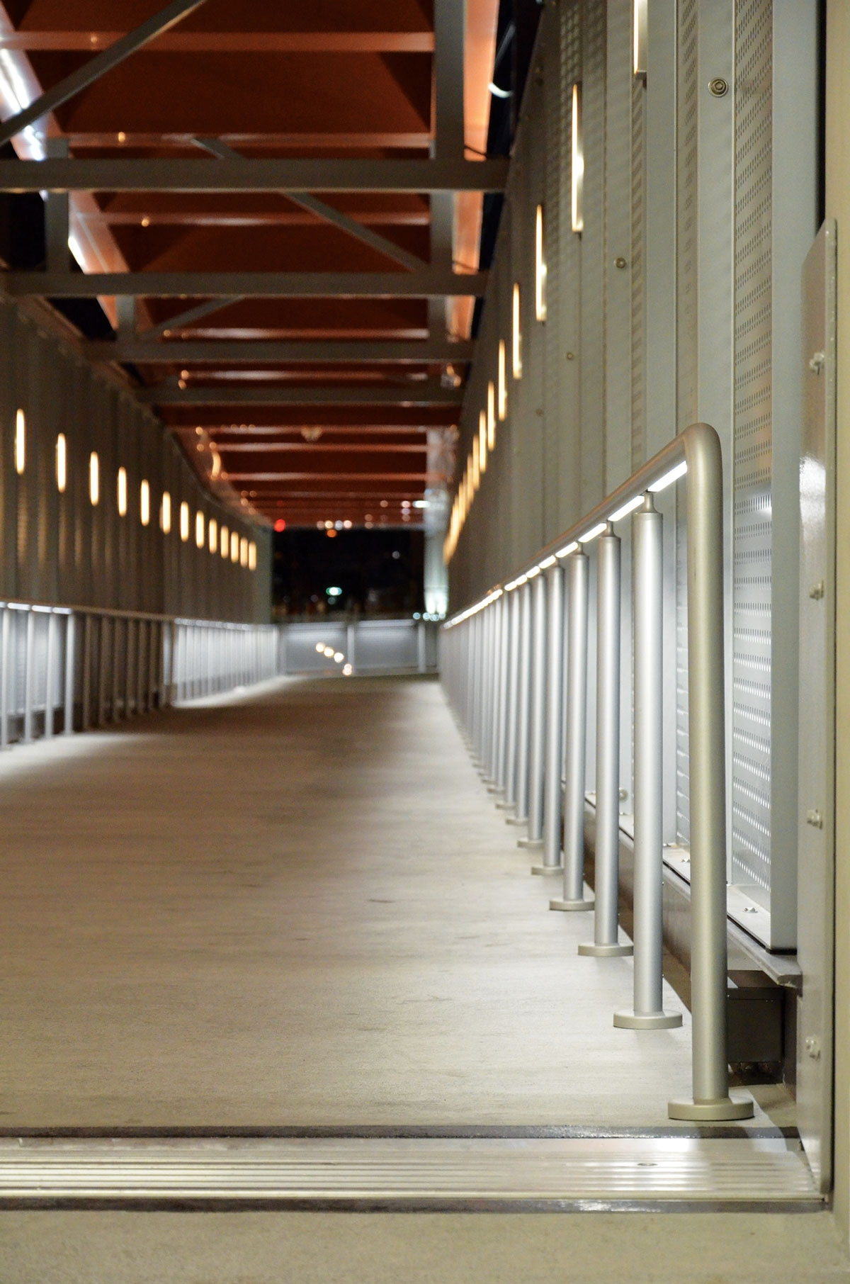 Pedestrian Walkways And Lumenrail A Perfect Match   Lighted Handrails For Stairs   Wrought Iron Railing   Minimal   Antique   Basement   Stair Banister