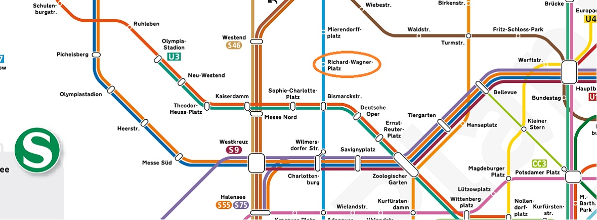 S- and U-Bahn network map showing Richard-Wagner-Platz