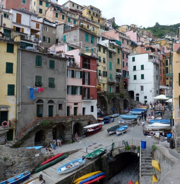 A veiw from the sea up through the village of Riomaggiore - Cinque Terre