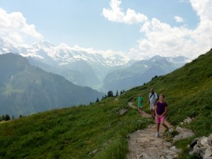 Hiking in Swiss Alps - Looking at Eiger
