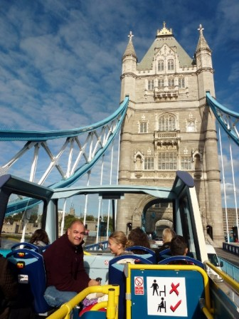 The Original Tour bus on The Tower Bridge