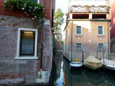 Small alleyways along the canals of Venice.