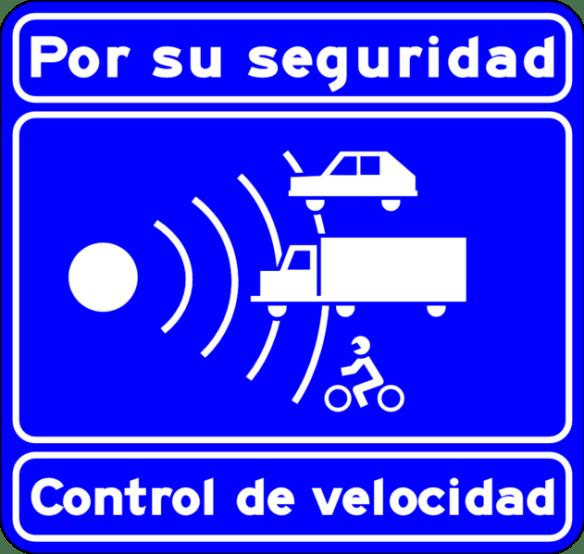 Control your Speed in Spain. Radar or speed camera ahead. Road Sign Control_de_velocidad_autovia_o_autopista