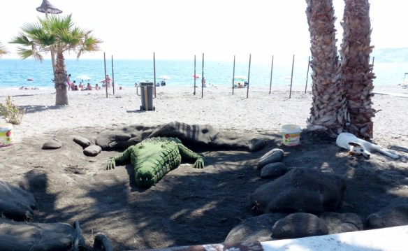Sand Scultped Crocodile on San Cristobal Beach Almunecar Spain