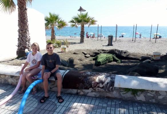 Sand Scultped Crocodile on San Cristobal Beach Almunecar Spain