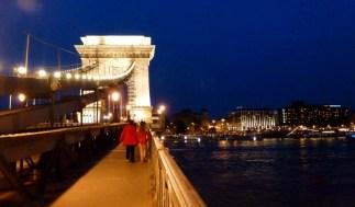 Night Walk Danube River - Budapest Hungary The Chain Bridge