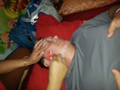 Jeff-getting-a-shave-in-Luang-Prabang