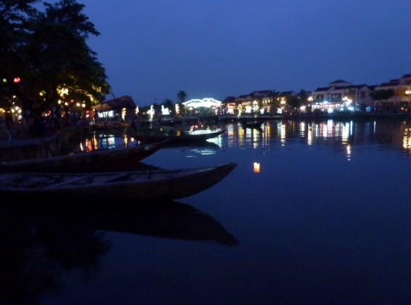 Along the river in Hoi An at dusk
