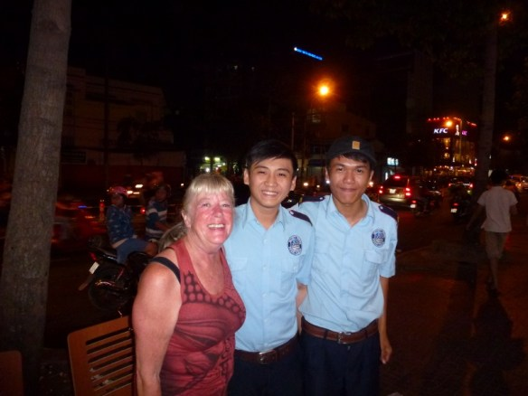 Ho Chi Minh City Vietnam - valet/ guard out front of texas chicken