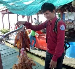 Siem Reap Crocodile Farm on lake - dried snake and crocodile meat
