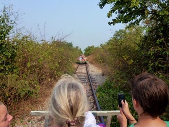 Bamboo Train Battambang Cambodia - oncoming traffic