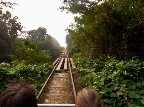 Bamboo Train Battambang Cambodia scary bridge