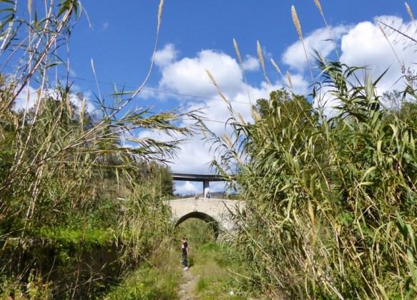Almunecar Spain Roman Bridge of Cotobro from the riverbed