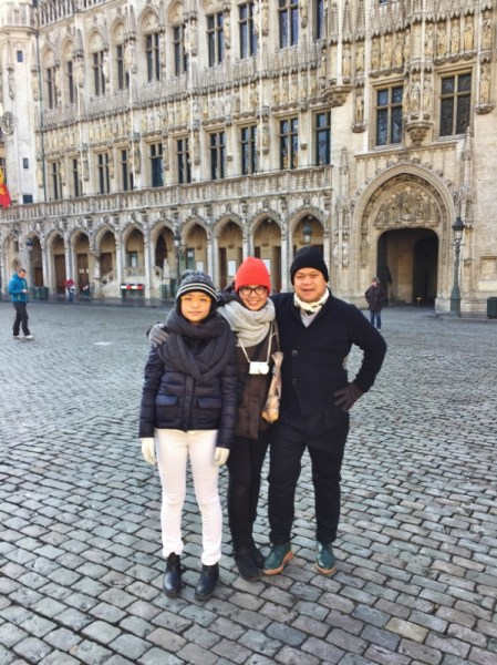 Dish Our Town Bailey and her Mom And Dad at Grand Place in Brussels