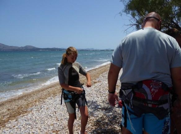 EDMKPollensa Mallorca Kitesurfing wetsuits and harness ready