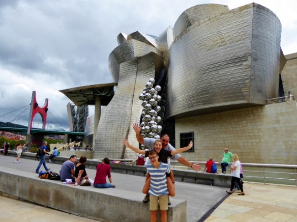 Guggenheim Bilbao Basque Country Spain fun outside. Are you looking for amazing things to do in Spain? Our Spain travel blog is loaded with tips for you to visit Spain. All by an American family of 4 living in Spain. Read more on WagonersAbroad.com