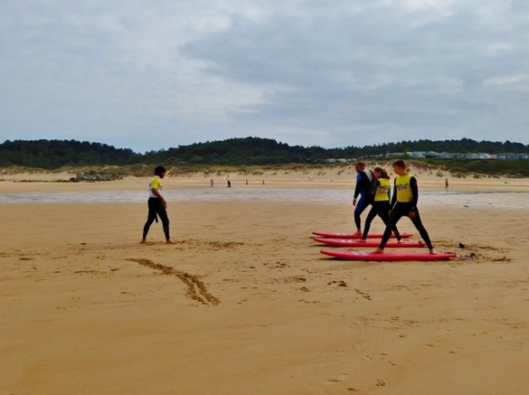 Wagoners Abroad Surfing Santander. How to stand up on a surf board.