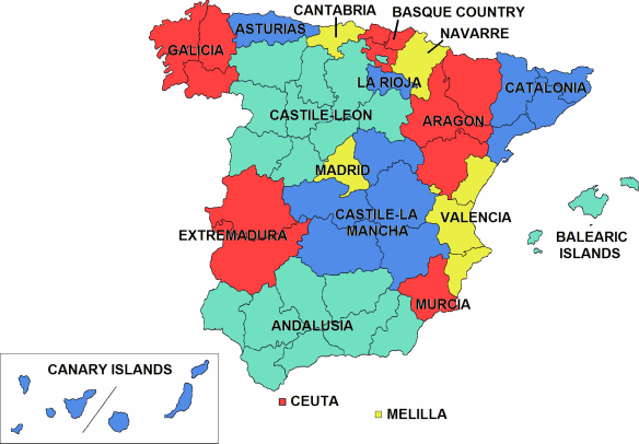 The autonomous communities of Spain are the first-level political and administrative division, created in accordance with the Spanish constitution of 1978, with the aim of guaranteeing limited autonomy of the nationalities and regions that make up Spain. Think of this like a state in the USA.