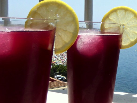 tinto de verano from our terrace in Almunecar Spain