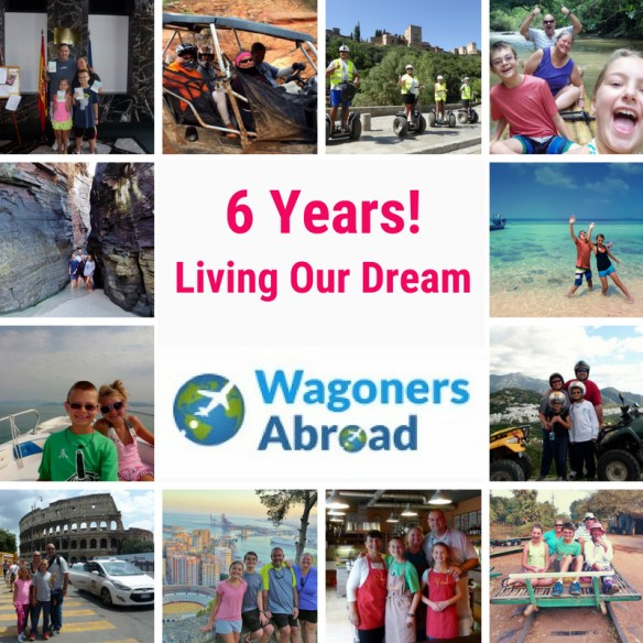 6 yrs living our dream life. Six years ago we moved to Spain with suitcases and backpacks, ready to start our adventure and live in Spain for a year or two.  That was it!  That was the plan!  Here we are after six years, with so many life changing experiences, memories and stories. Read more on WagonersAbroad.com