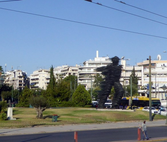 Dromeas - the runner sculpture in Athens view from the hop on hop off bus tour