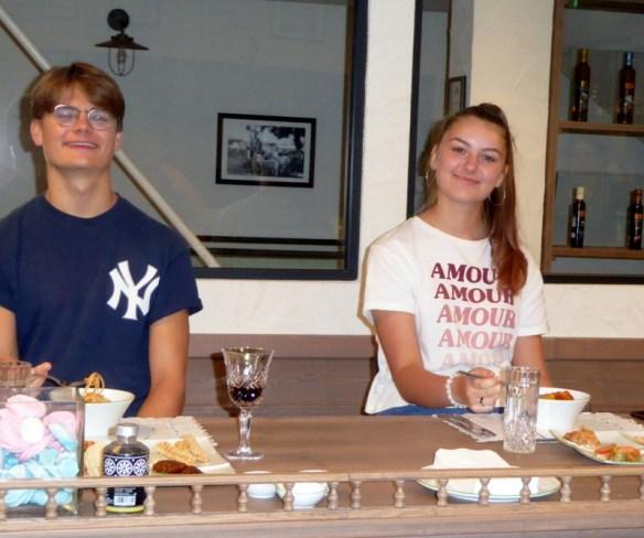 Anya and Lars happy to eat Greek food that is vegan friendly!