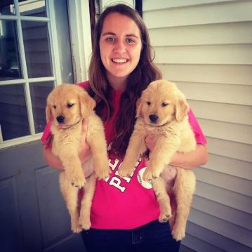 Jenny Mettler with future service dogs, Jenny & Susie