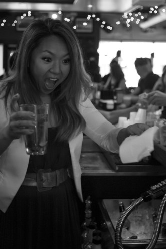 Melissa Reid (FOX 8) bartending at the W.A.G.S. 4 Kids Celebrity Tweet Up!