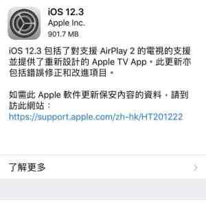 iOS 12.3更新版推出
