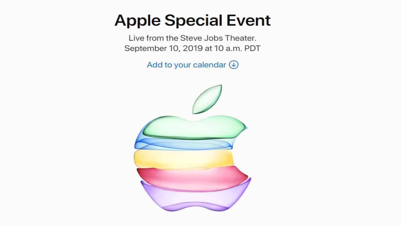 Apple宣佈9月10日舉行發佈會 (Apple Special Event on 10 Sep 2019)