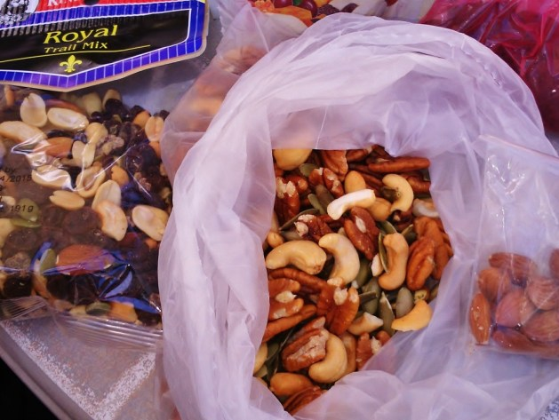 different nuts and seeds mixed for a snack