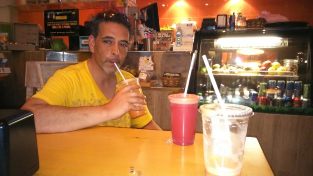 drinking healthy and fresh pressed juices