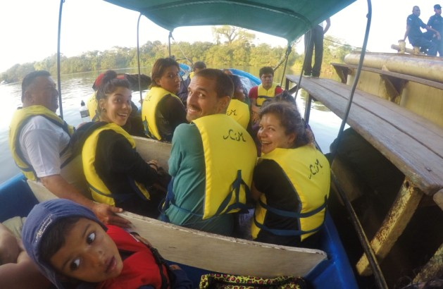 traveling the Rio Escondido by speed boat