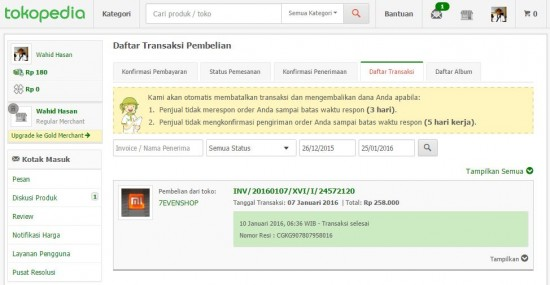 Tokopedia Dashboard